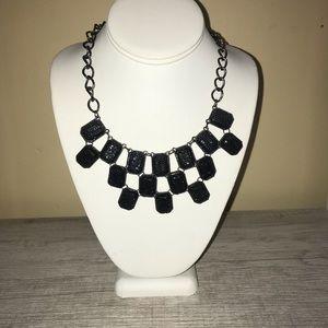 Black Glitter Statement Necklace
